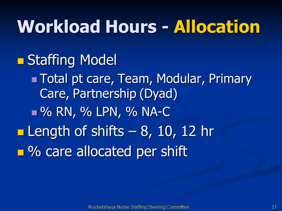 Workload Hours - Allocation