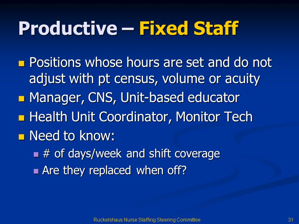 Productive – Fixed Staff