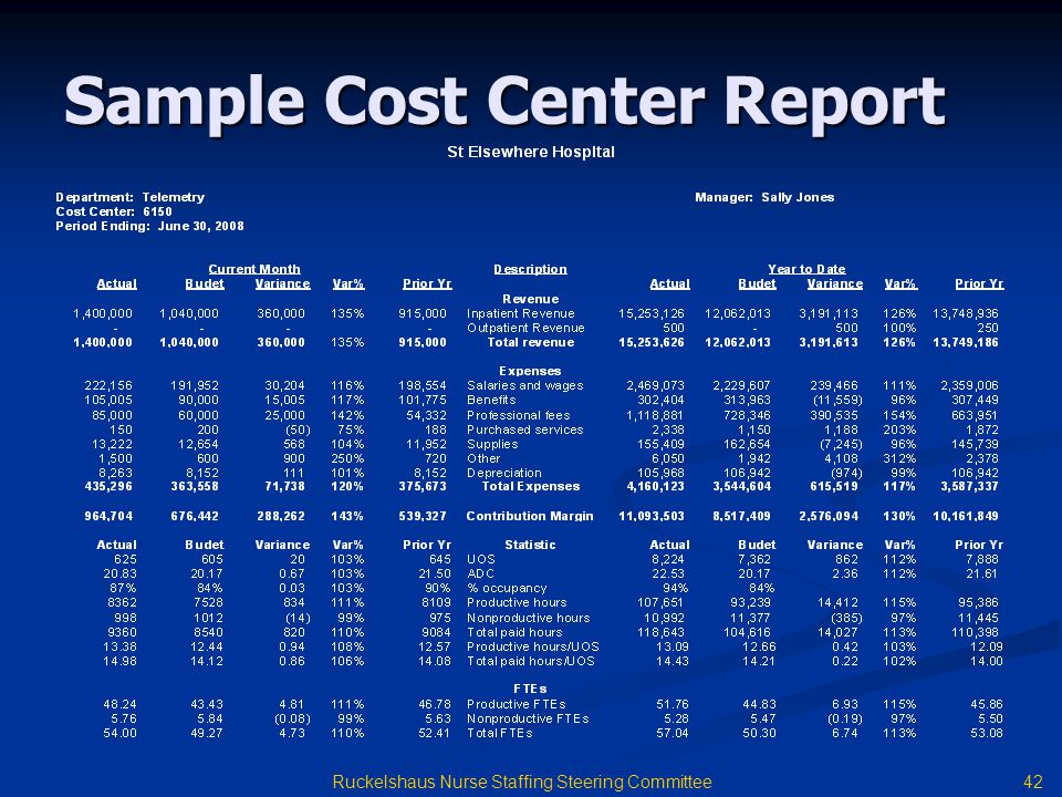 Sample Cost Center Report