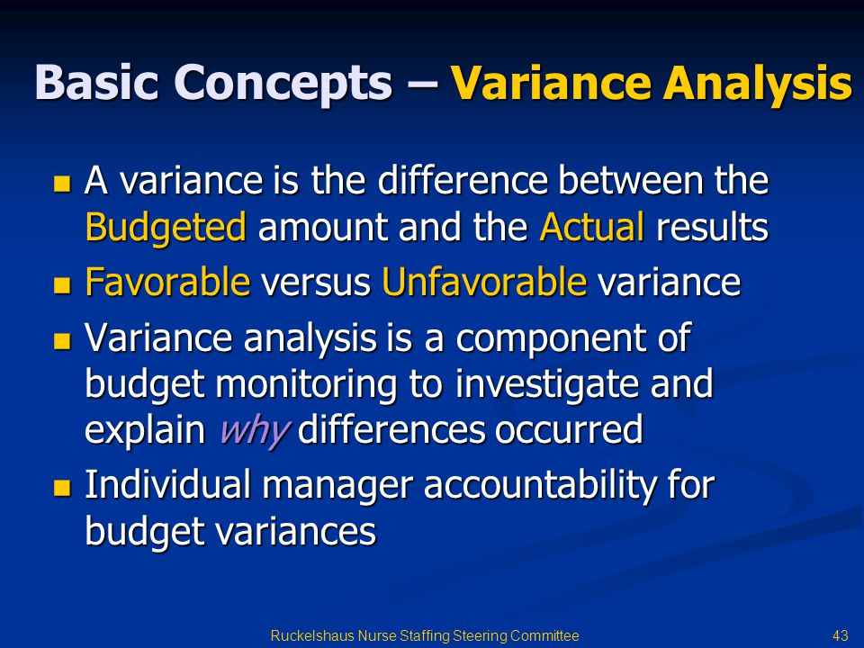Basic Concepts – Variance Analysis