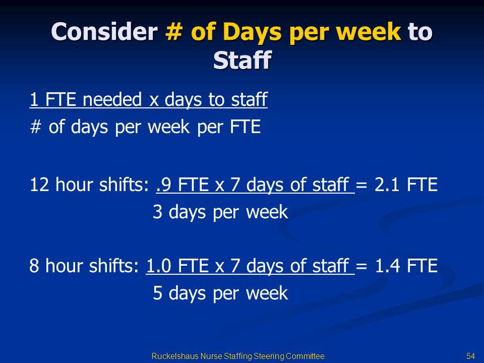 Consider # of Days per week to Staff