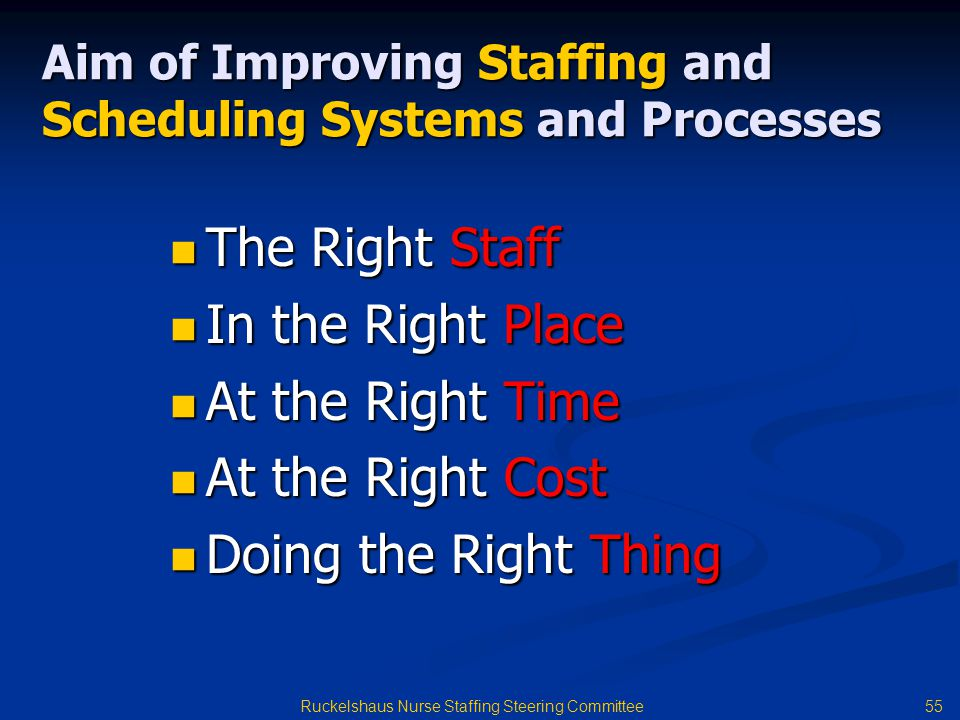 Aim of Improving Staffing and Scheduling Systems and Processes