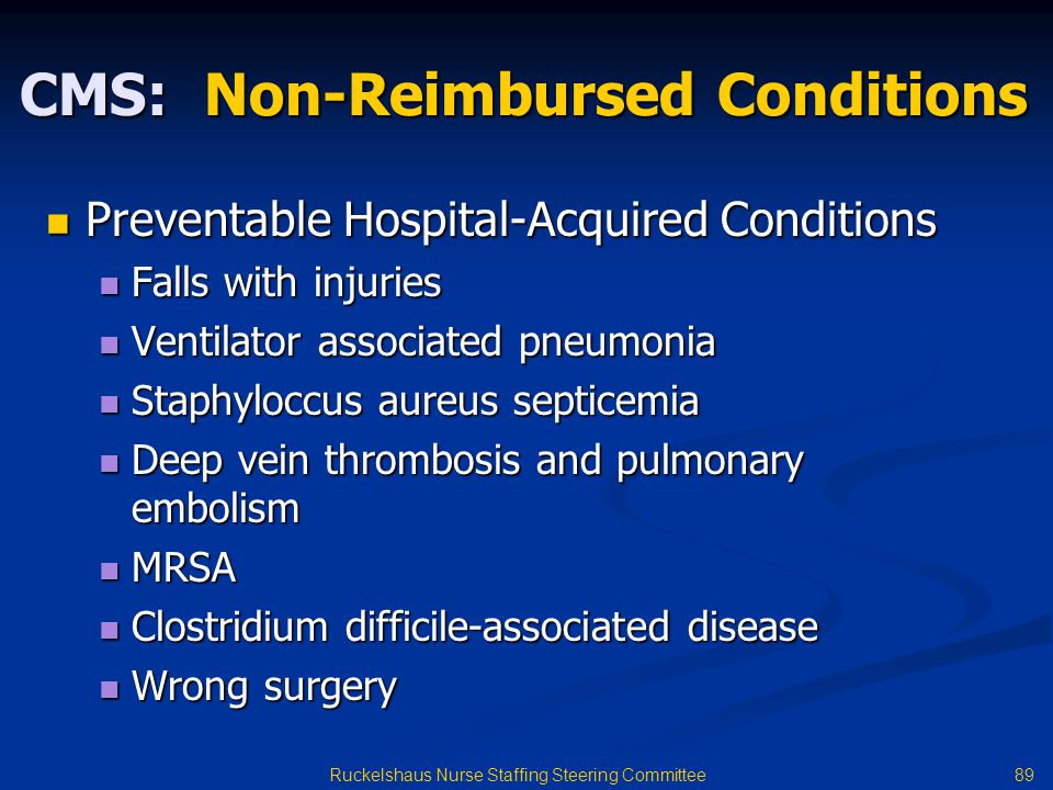 CMS: Non-Reimbursed Conditions
