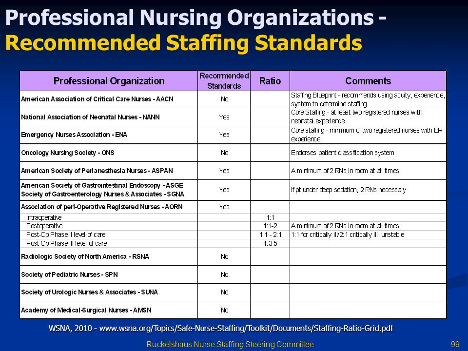 Professional Nursing Organizations - Recommended Staffing Standards