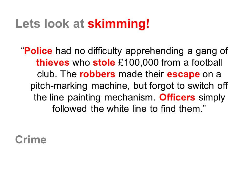 Lets look at skimming! Crime