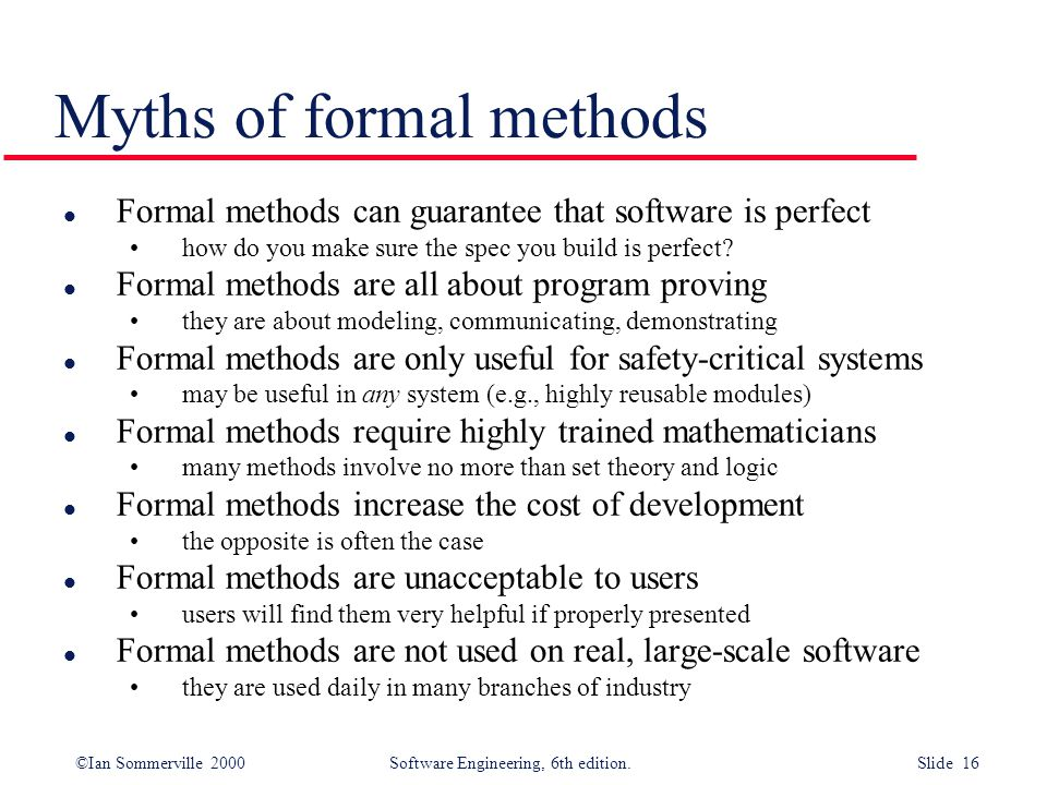 Myths of formal methods
