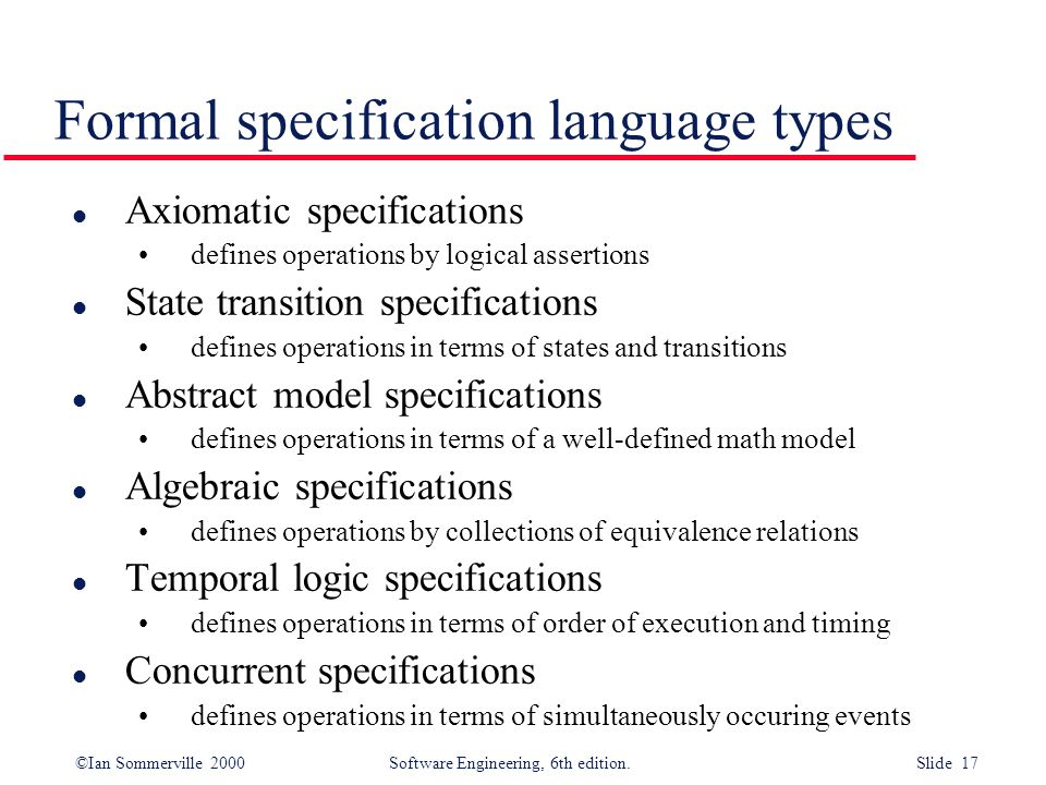 Formal specification language types