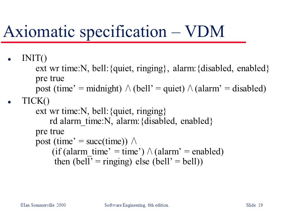 Axiomatic specification – VDM