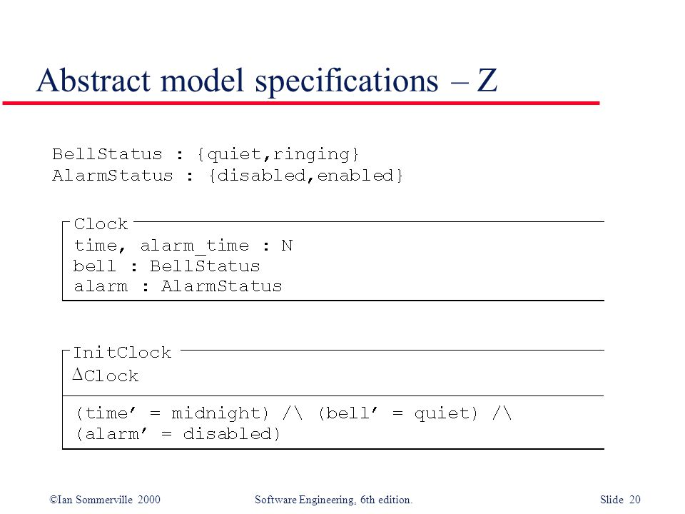 Abstract model specifications – Z