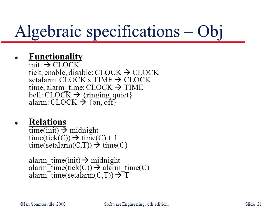 Algebraic specifications – Obj