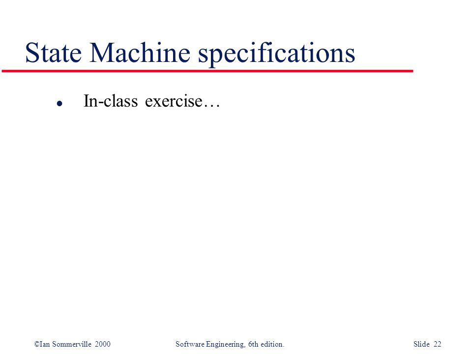 State Machine specifications