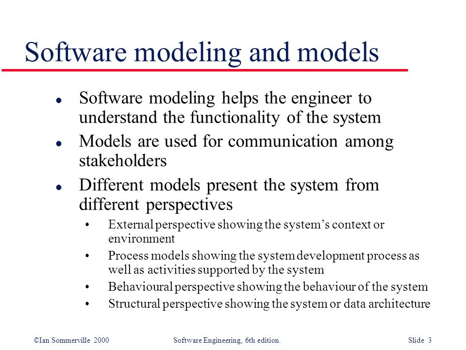Software modeling and models