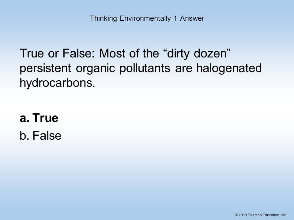 Thinking Environmentally-1 Answer