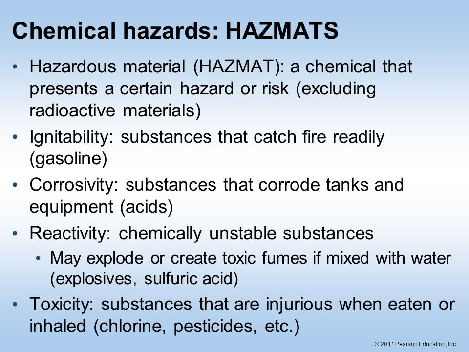 Chemical hazards: HAZMATS