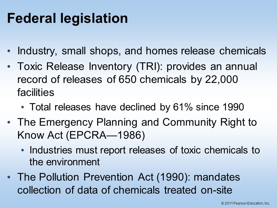 Federal legislation Industry, small shops, and homes release chemicals