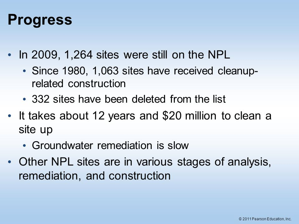 Progress In 2009, 1,264 sites were still on the NPL