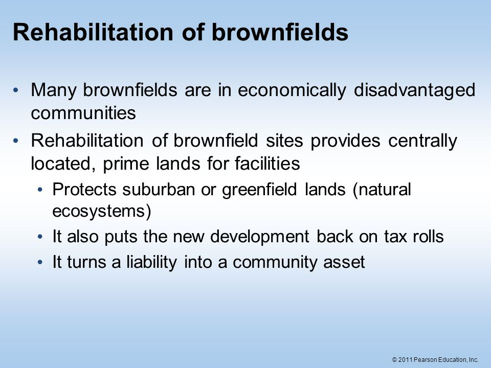 Rehabilitation of brownfields