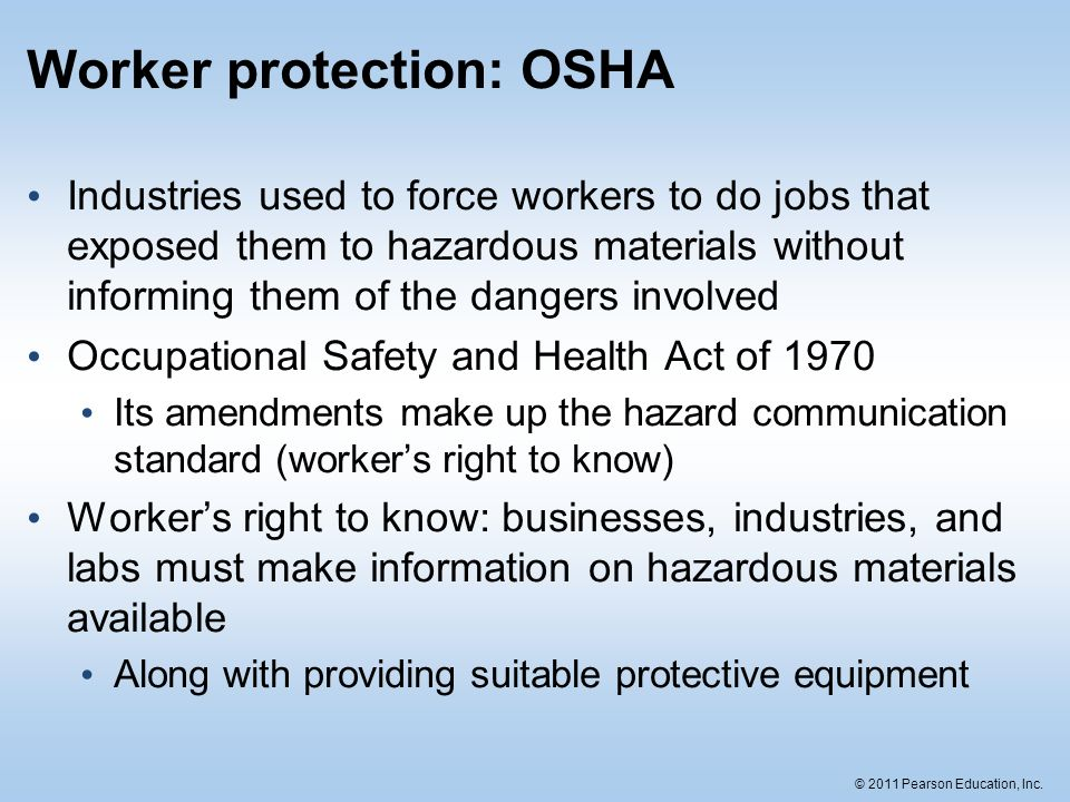 Worker protection: OSHA