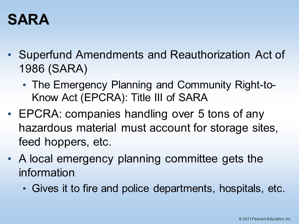 SARA Superfund Amendments and Reauthorization Act of 1986 (SARA)
