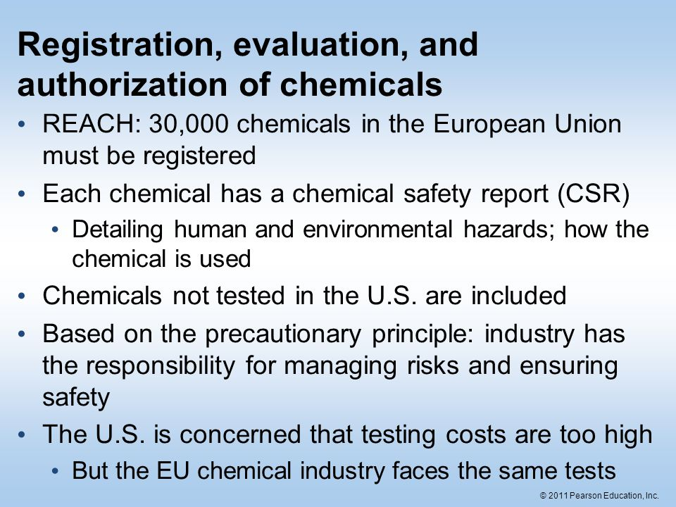 Registration, evaluation, and authorization of chemicals