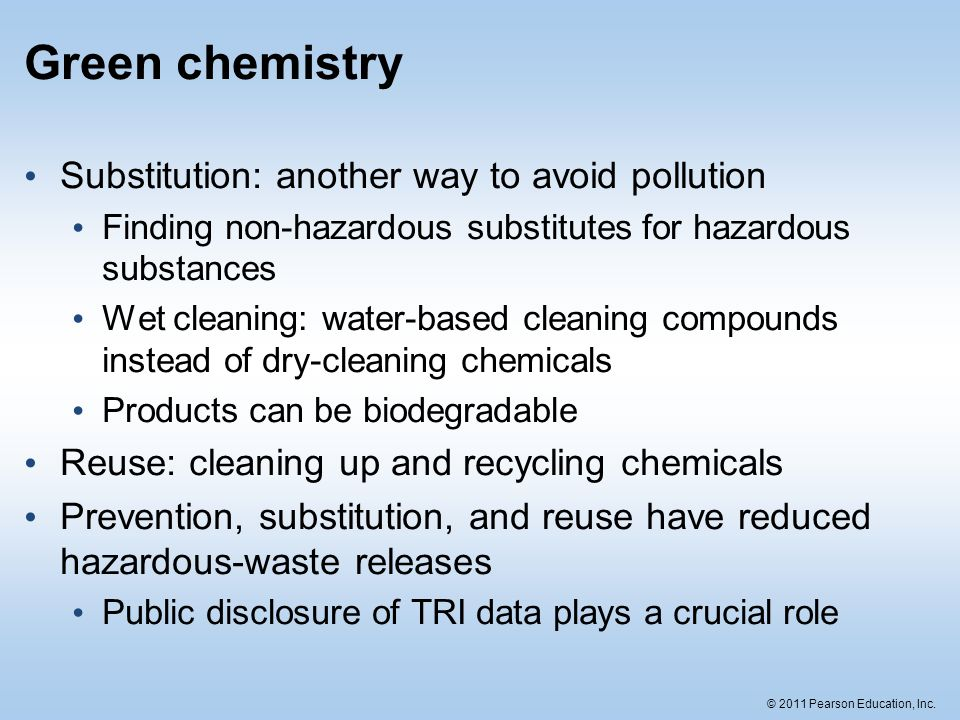 Green chemistry Substitution: another way to avoid pollution