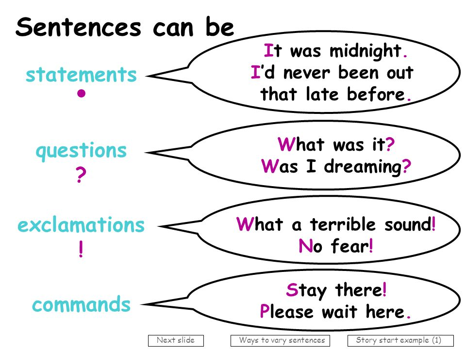 Sentences can be statements questions exclamations ! commands