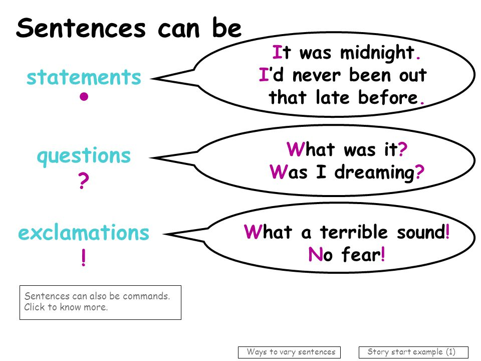 Sentences can be statements questions exclamations !