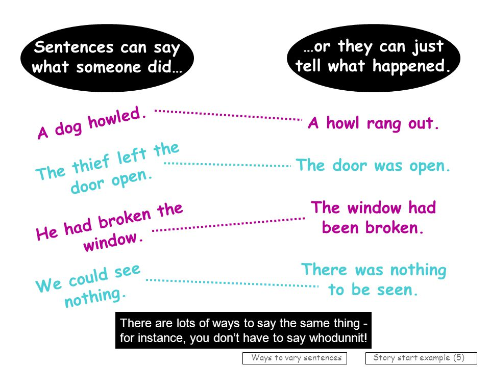 Sentences can say …or they can just what someone did…