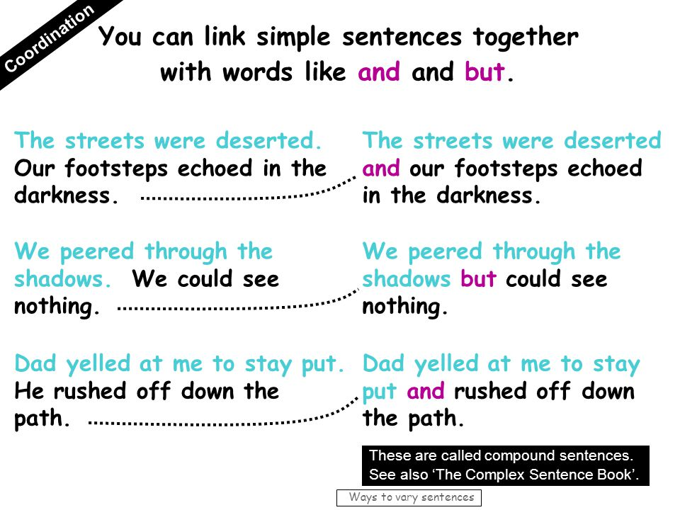 You can link simple sentences together with words like and and but.