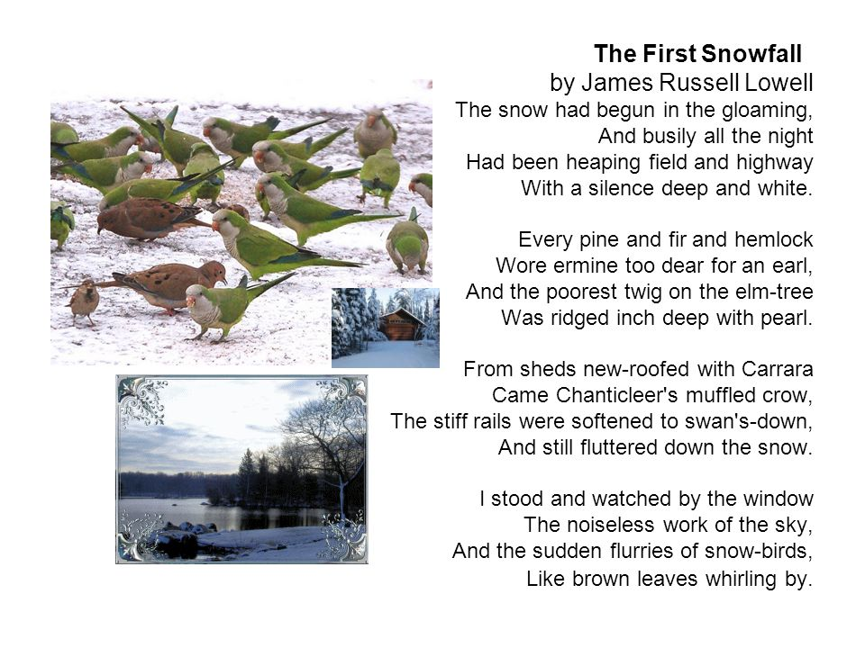 The First Snowfall by James Russell Lowell The snow had begun in the gloaming, And busily all the night Had been heaping field and highway With a silence deep and white.