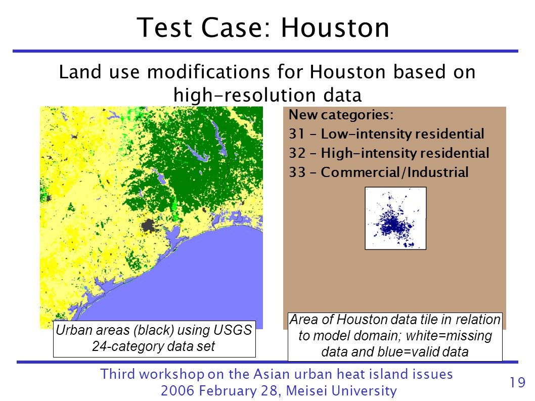 Test Case: Houston Land use modifications for Houston based on high-resolution data. New categories: