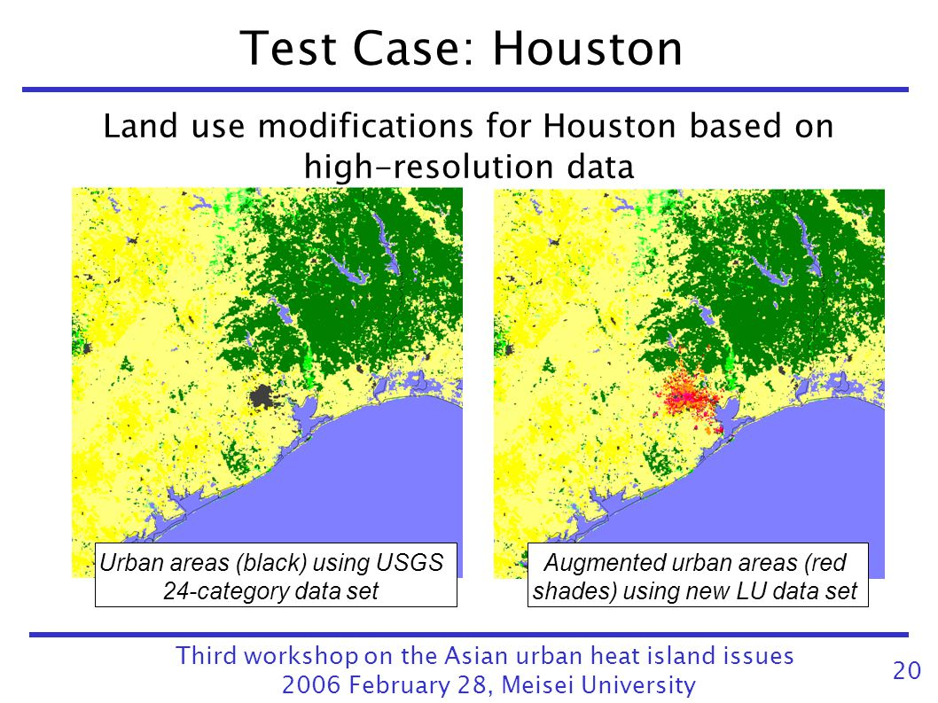 Test Case: Houston Land use modifications for Houston based on high-resolution data. Urban areas (black) using USGS 24-category data set.