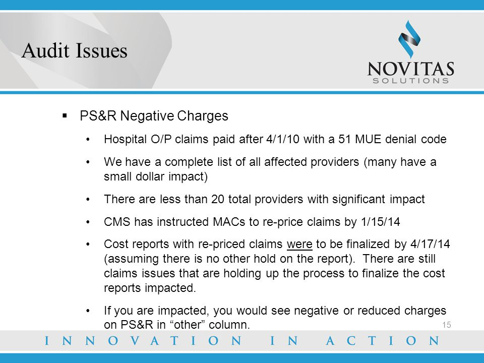Audit Issues PS&R Negative Charges