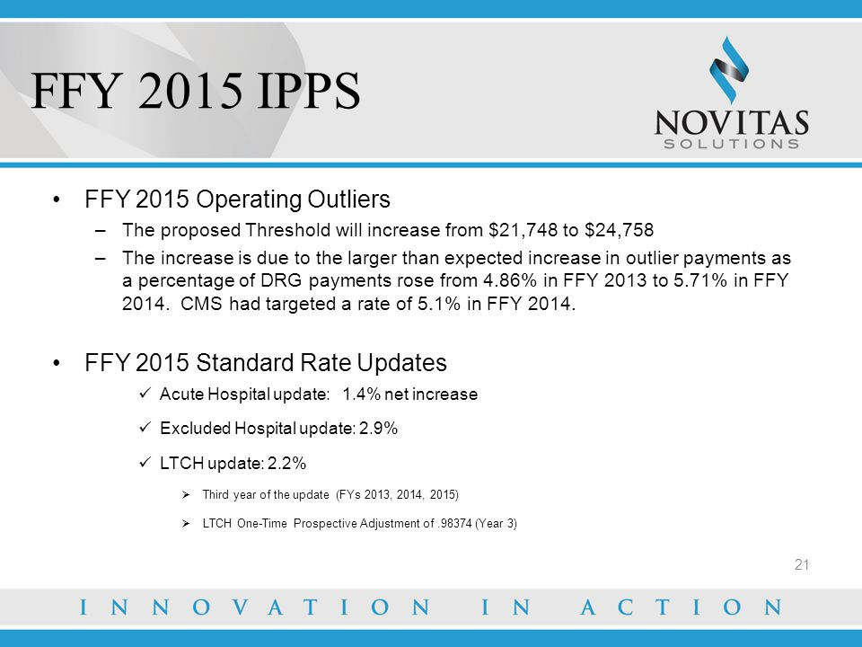 FFY 2015 IPPS FFY 2015 Operating Outliers