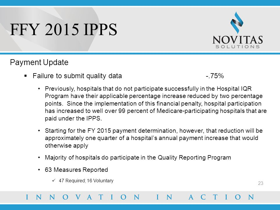 FFY 2015 IPPS Payment Update Failure to submit quality data -.75%