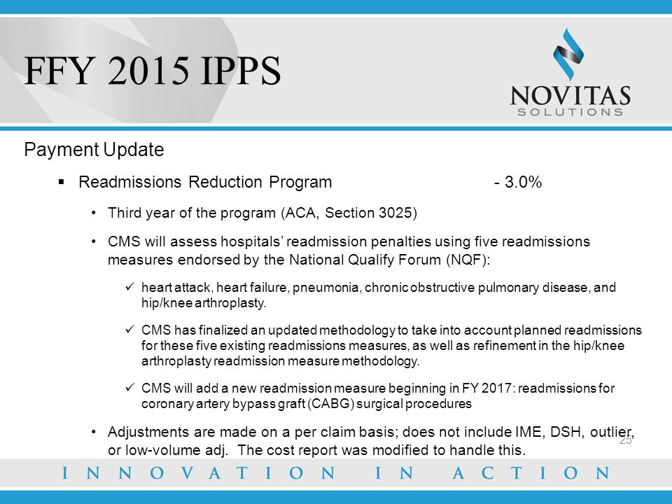 FFY 2015 IPPS Payment Update Readmissions Reduction Program - 3.0%