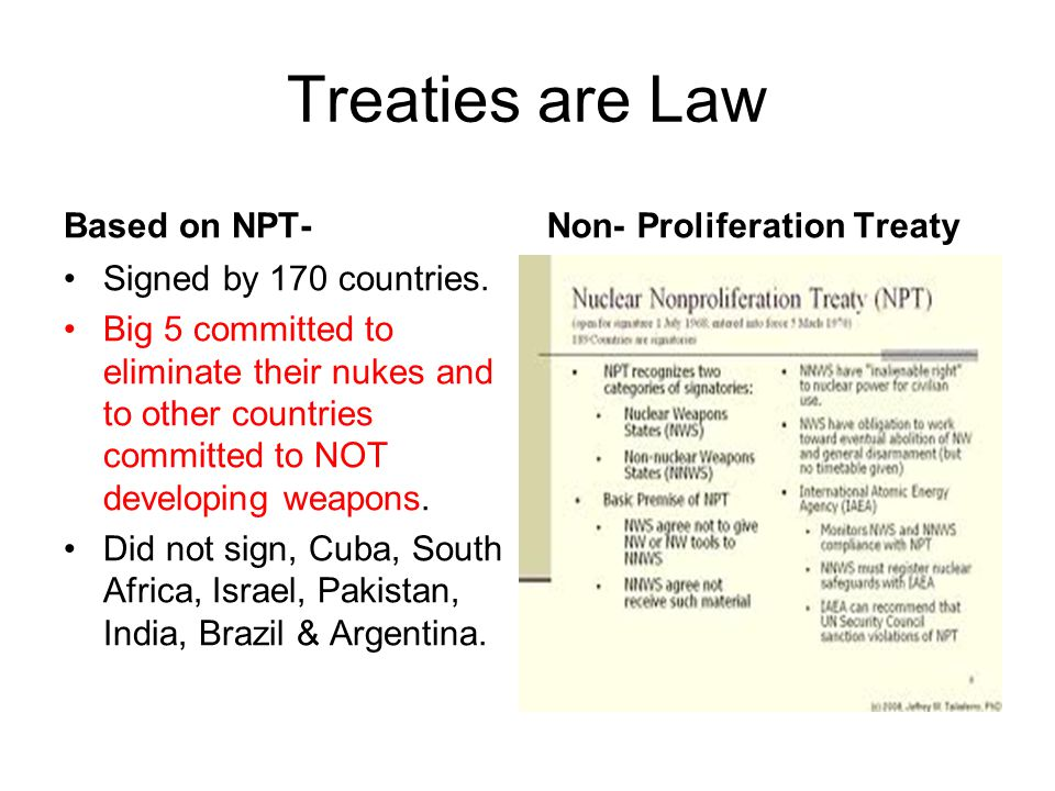 Treaties are Law Based on NPT- Non- Proliferation Treaty