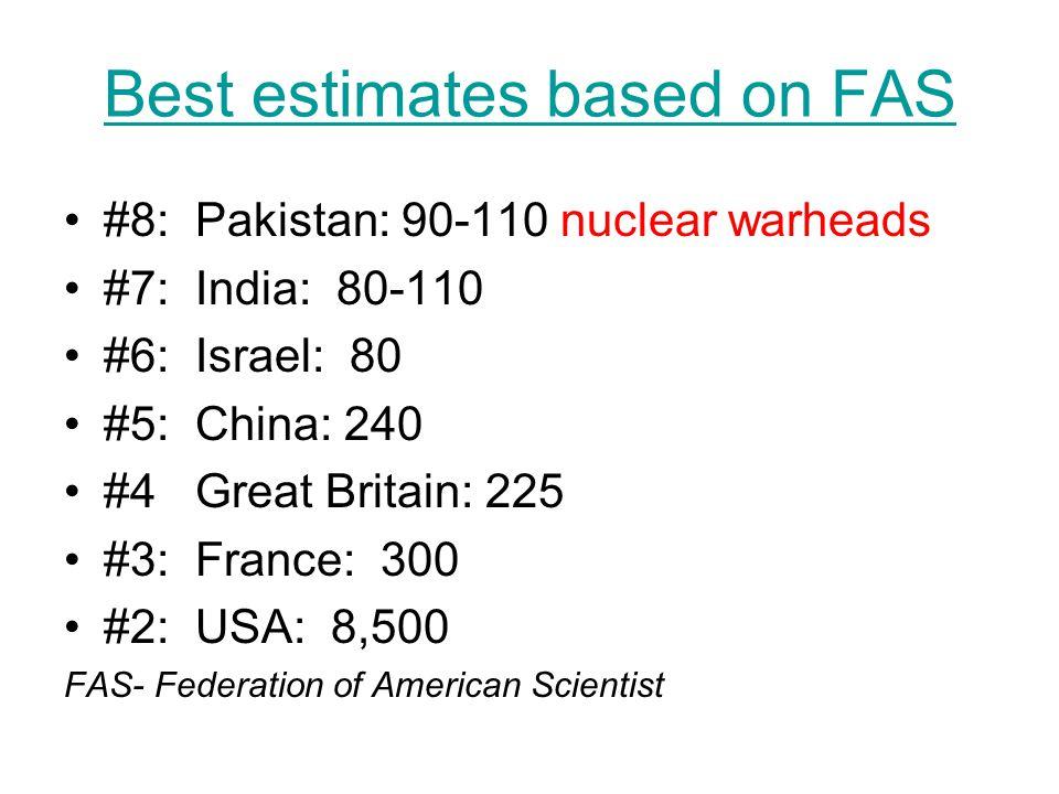 Best estimates based on FAS