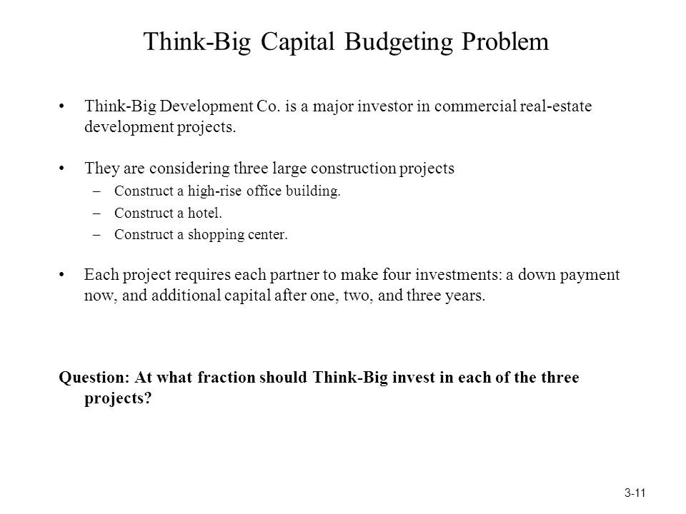 Think-Big Capital Budgeting Problem