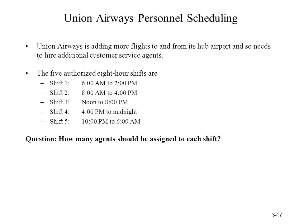 Union Airways Personnel Scheduling
