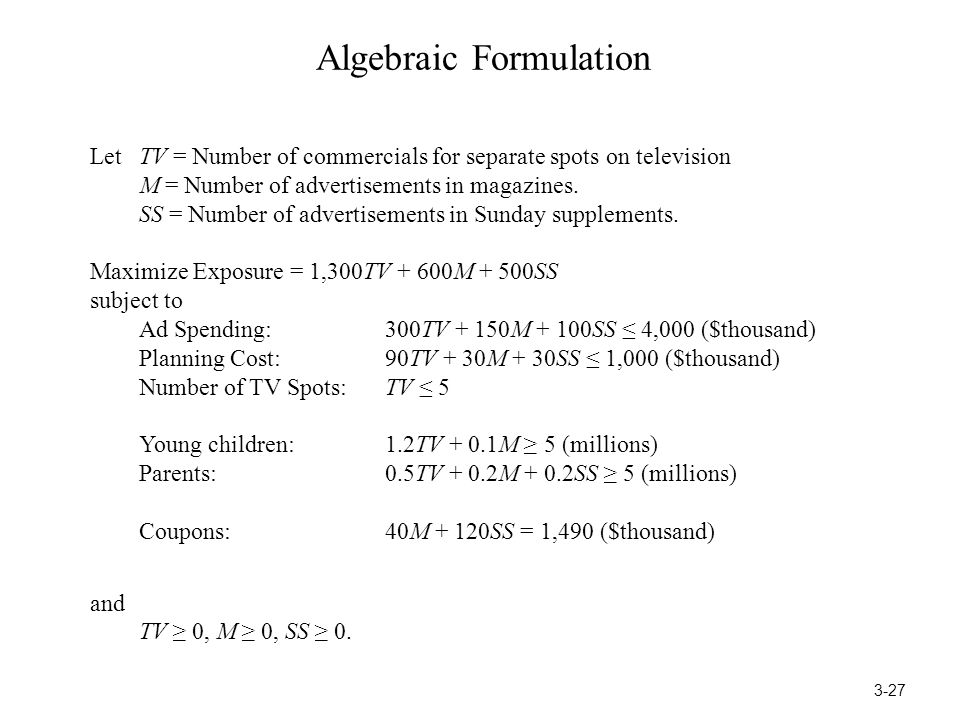 Algebraic Formulation