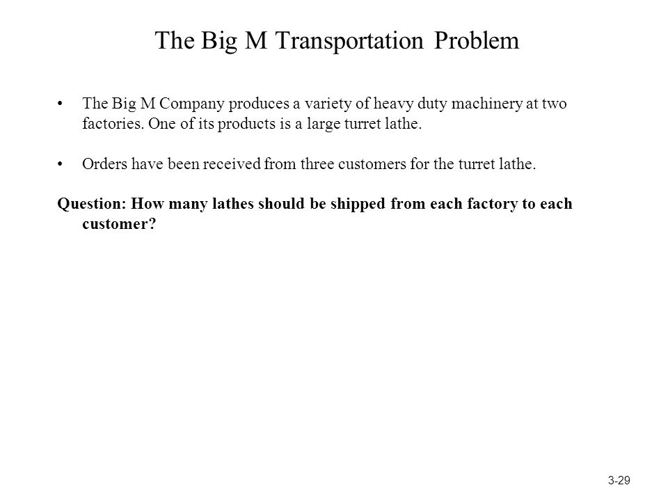 The Big M Transportation Problem
