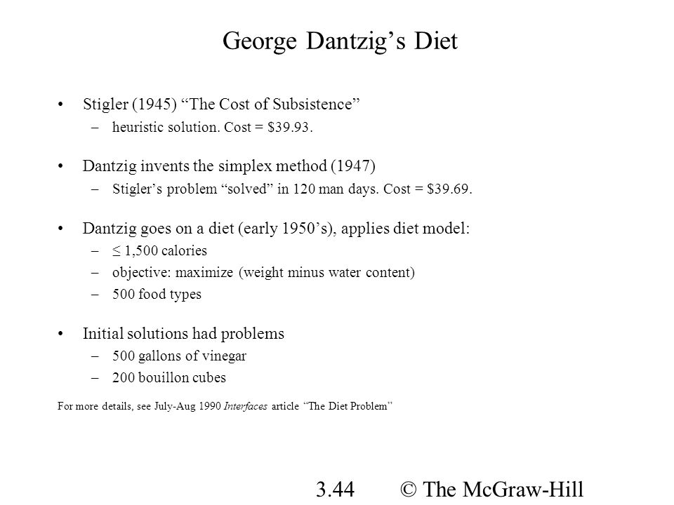 George Dantzig's Diet © The McGraw-Hill Companies, Inc., 2008