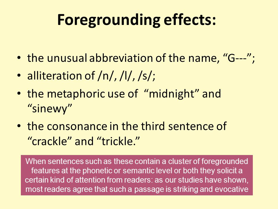 Foregrounding effects:
