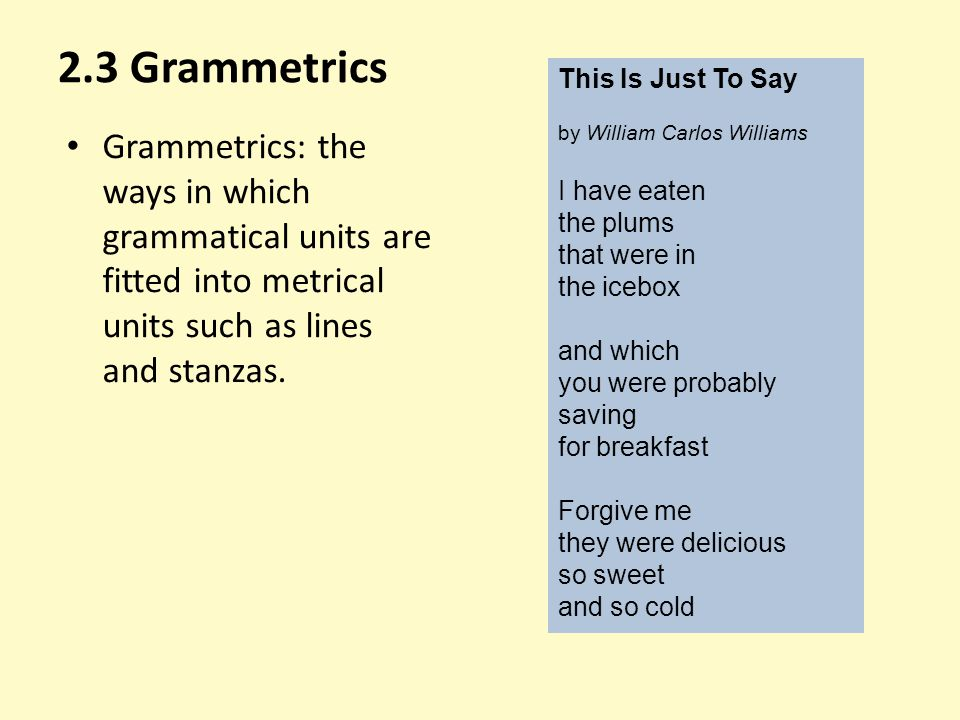 2.3 Grammetrics This Is Just To Say. by William Carlos Williams. I have eaten. the plums. that were in.
