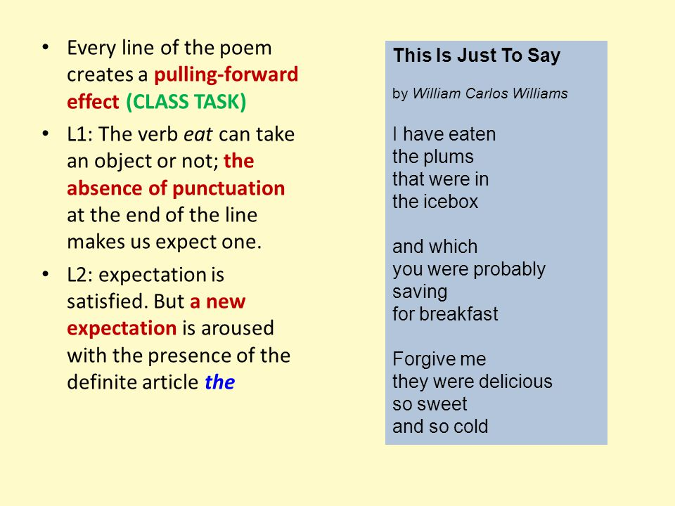 Every line of the poem creates a pulling-forward effect (CLASS TASK)