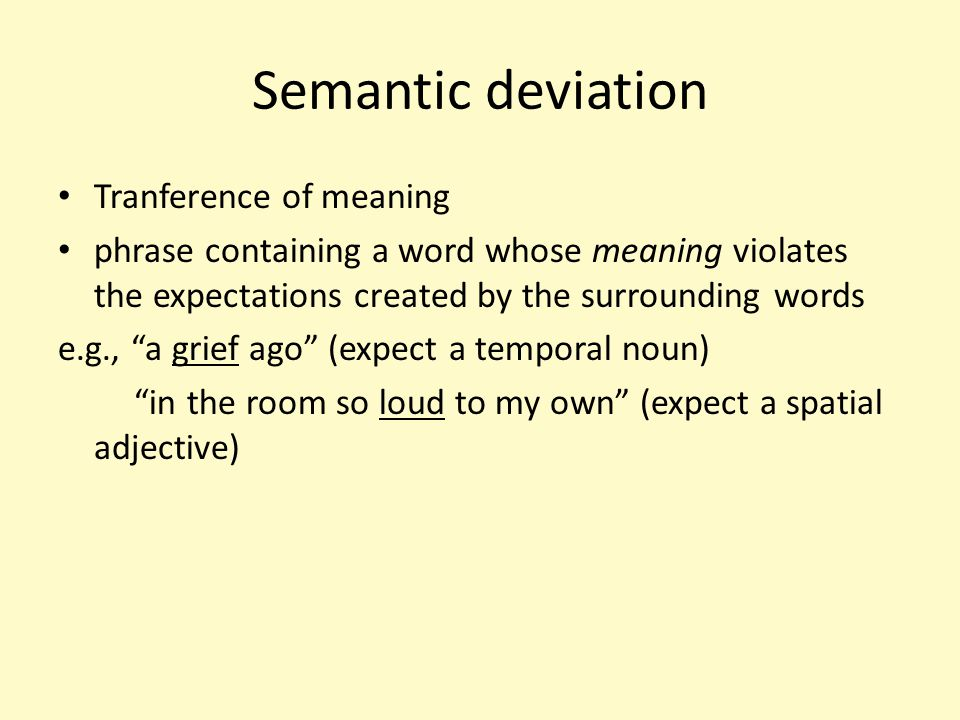 Semantic deviation Tranference of meaning