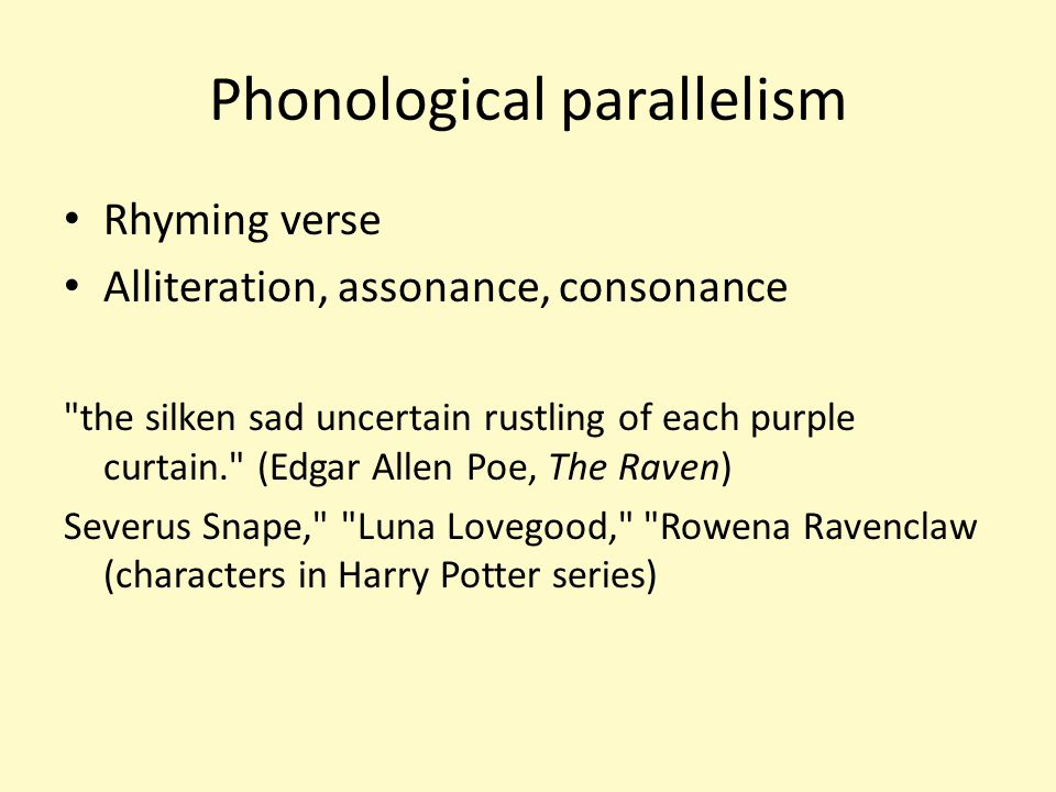 Phonological parallelism