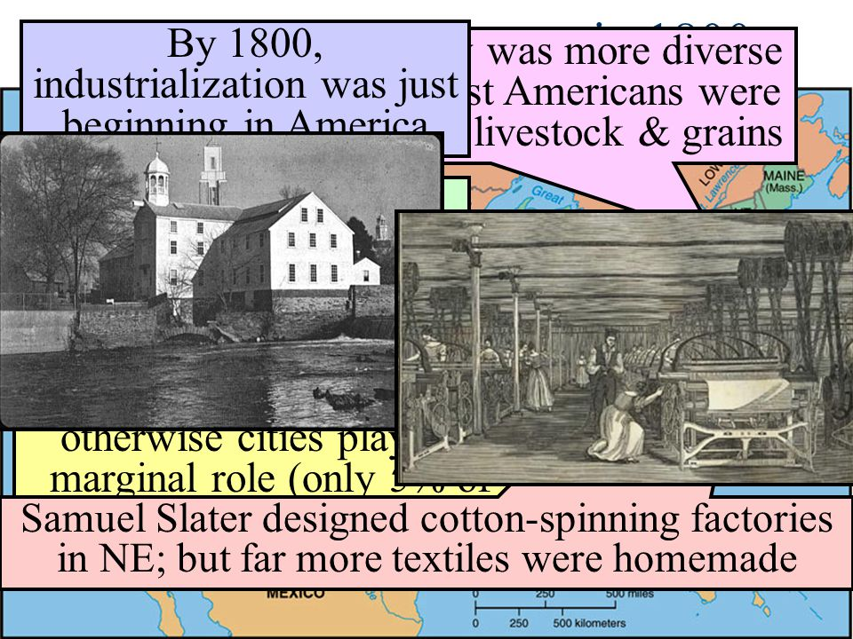 The U.S. Economy in 1800 By 1800, industrialization was just beginning in America.