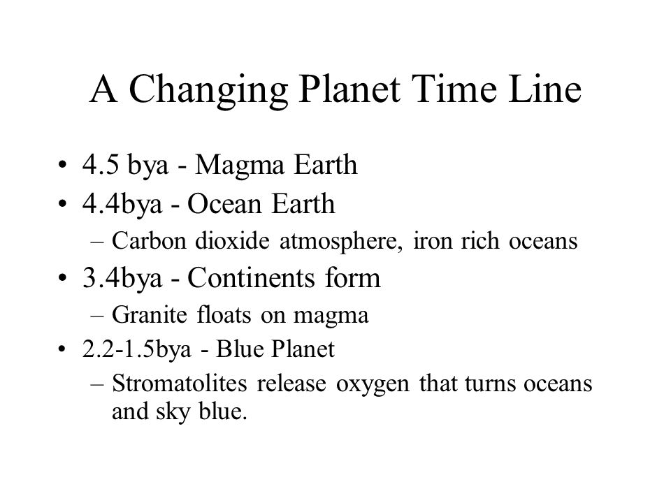 A Changing Planet Time Line